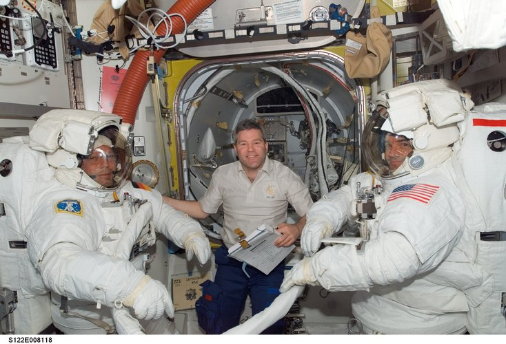 Preparations for the second spacewalk of the STS-122 mission