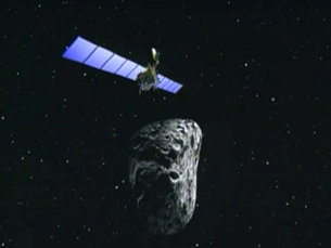 Rosetta asteroid's fly-by - artist's impression