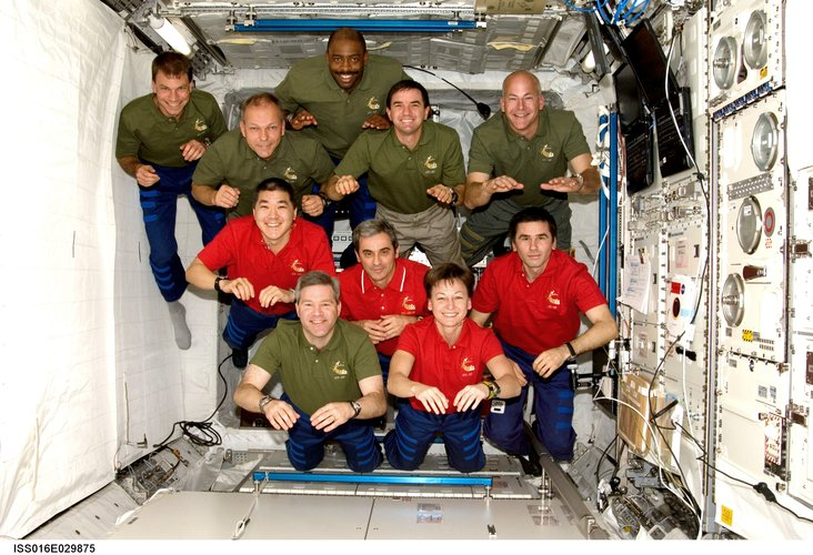 STS-122 and Expedition 16 crews inside Columbus