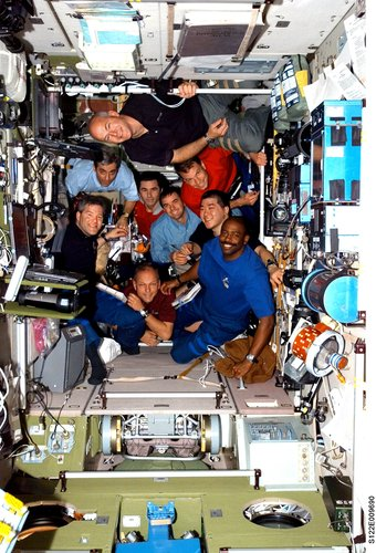 STS-122 and Expedition 16 crews inside the ISS
