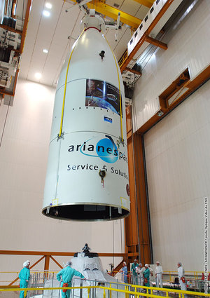 The launcher fairing is lowered over Jules Verne ATV