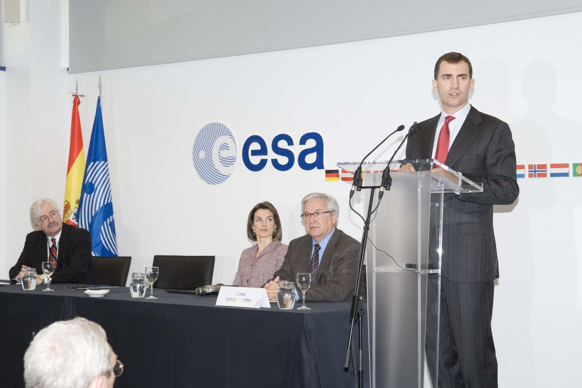The Prince of Asturias speaking at the inauguration of ESAC