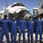 The STS-122 crew after landing