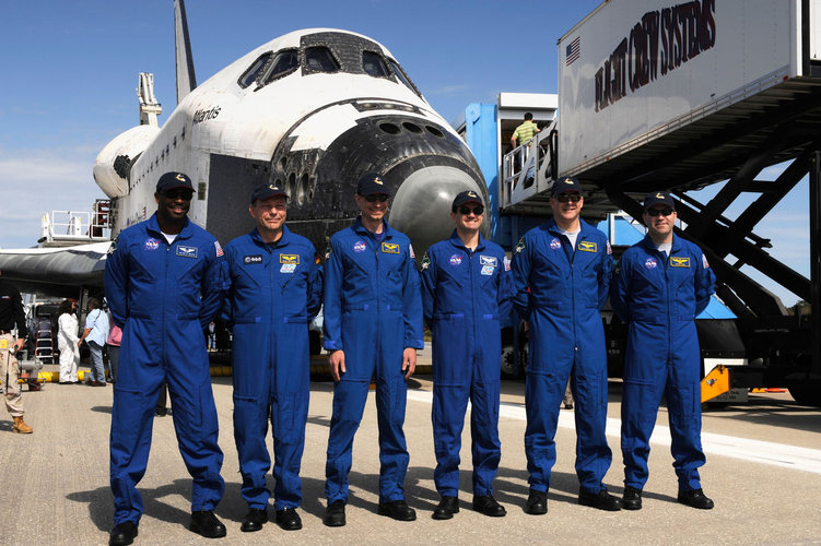 The STS-122 crew shortly after landing at Kennedy Space Center, Florida