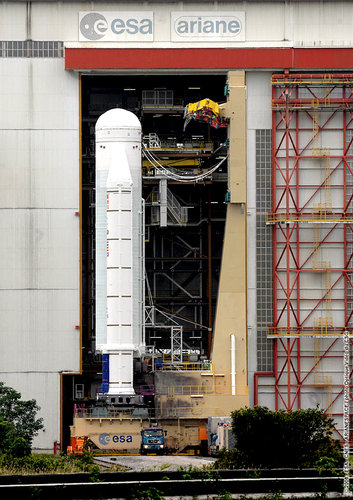Transfer of the Ariane 5 ES launcher for Jules Verne to the Final Assembly Building at Europe's Spaceport in Kourou
