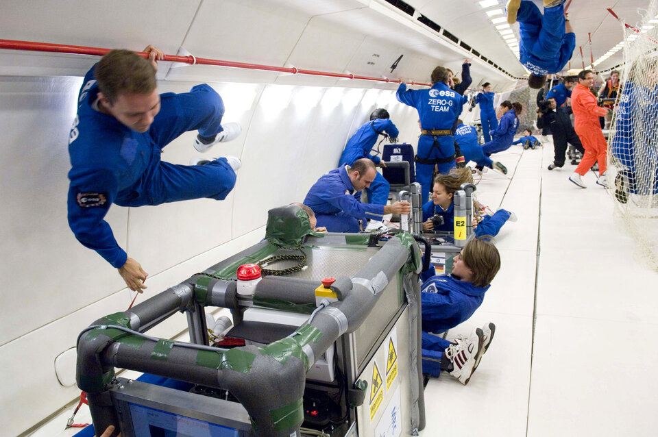 Inside view of Zero-G A300 Airbus during parabolic flight
