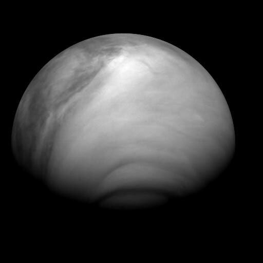 View on Venus's southern hemisphere on 28 July 2007