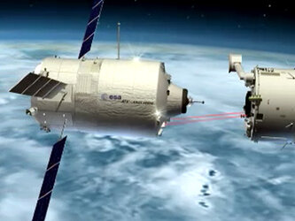 Animation illustrating the mission scenario for Europe's Automated Transfer Vehicle