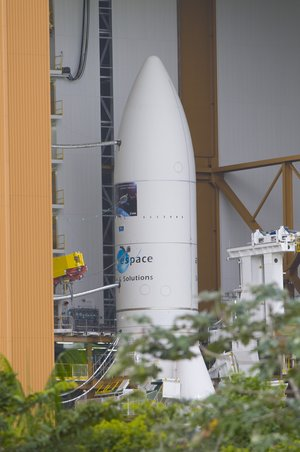 Ariane 5 ES-ATV launcher about to leave the Final Assembly Building