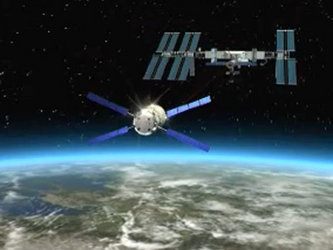 Artist's impression of ATV approaching for rendezvous with ISS