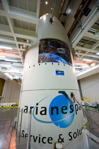 Close-up view of the Ariane 5 launcher fairing