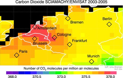 Elevated carbon dioxide over Europe