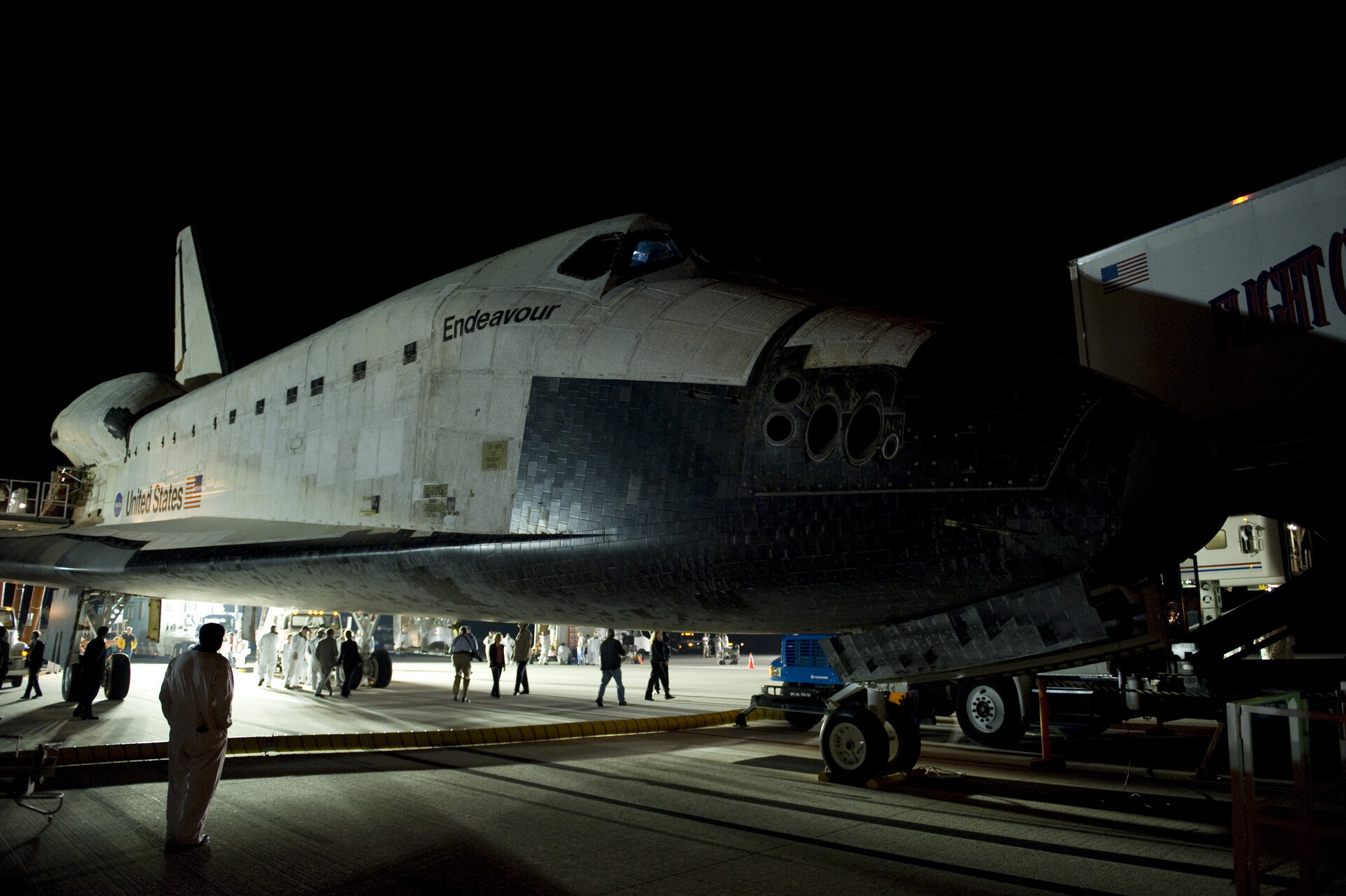 Endeavour shortly after landing at NASA' s Kennedy Space Center