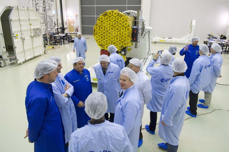 GIOVE-B in the ESTEC Test Centre - Media visit to clean room