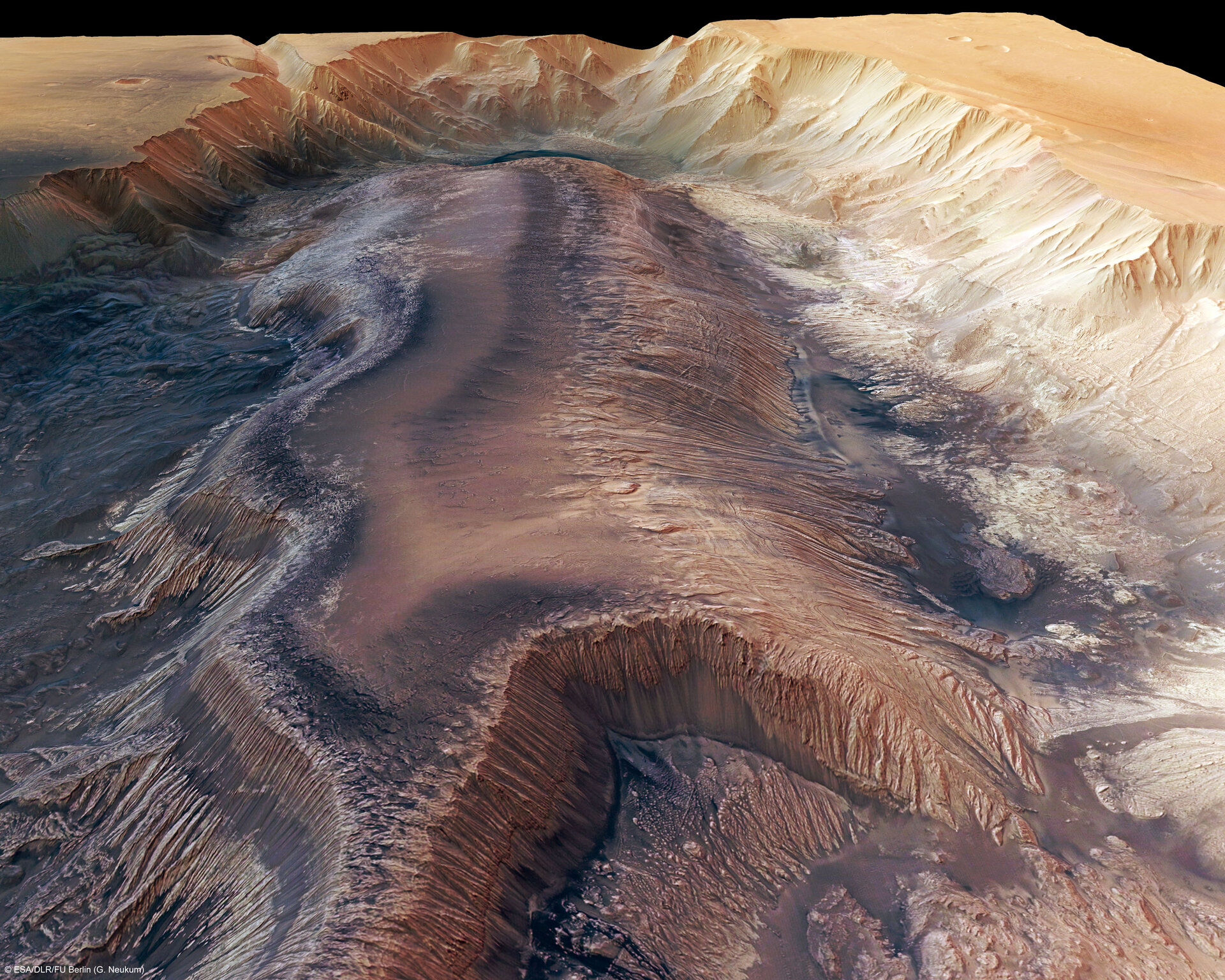 Hebes Chasma, perspective view