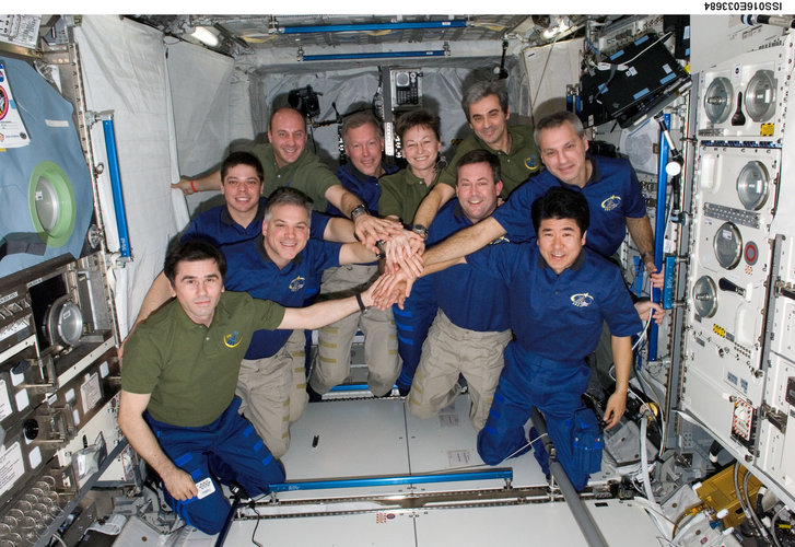 ISS and STS-123 crewmembers in Columbus