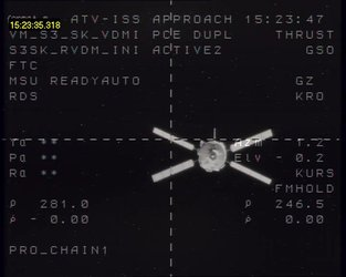 Jules Verne ATV seen 246.5 m metres from the Russian module