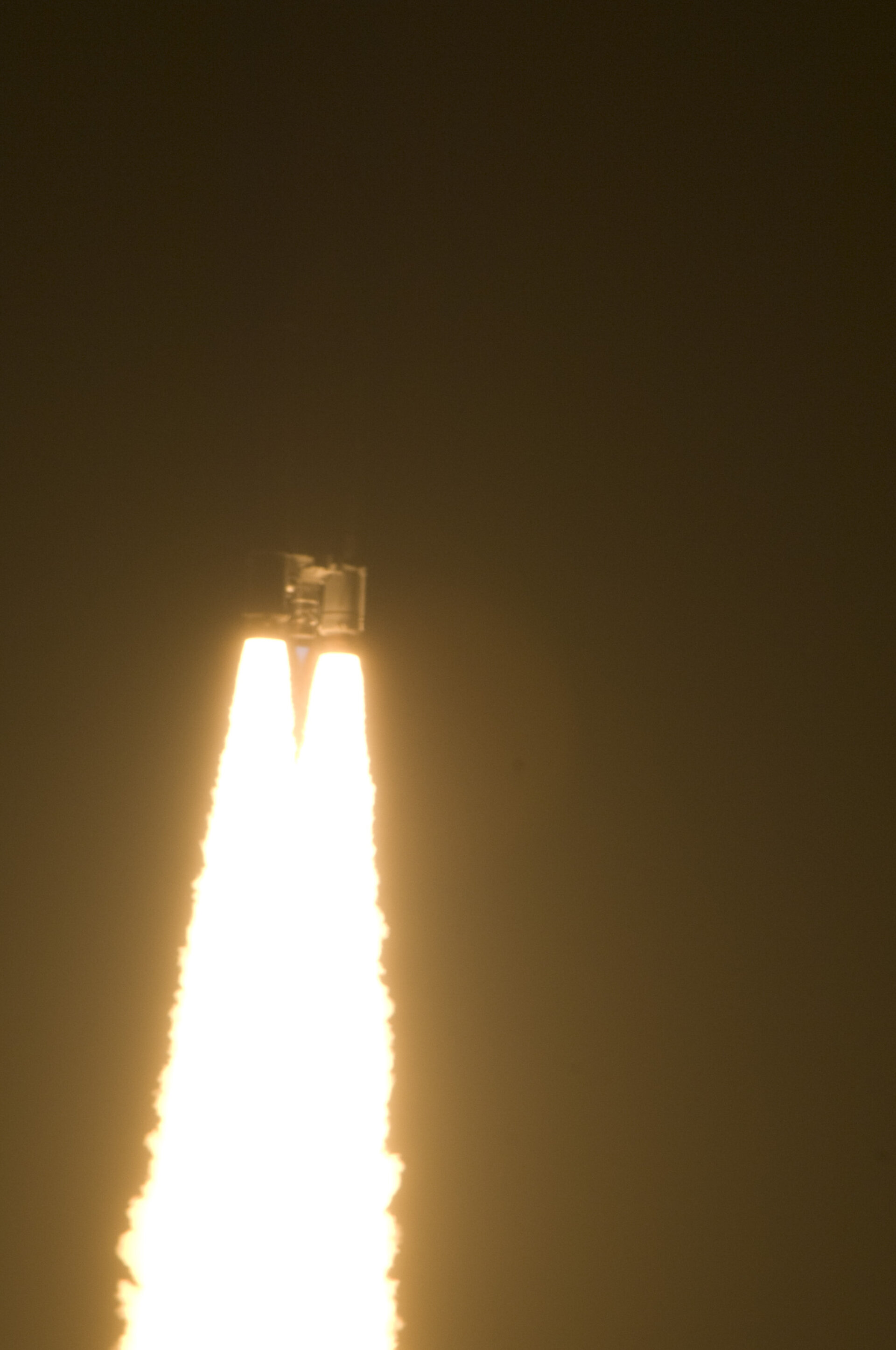 Liftoff of Ariane 5 ES-ATV into night sky over Kourou