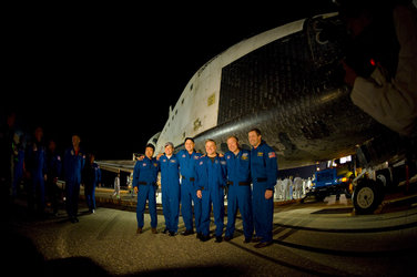 STS-123 crew shortly after landing of Space Shuttle Endeavour
