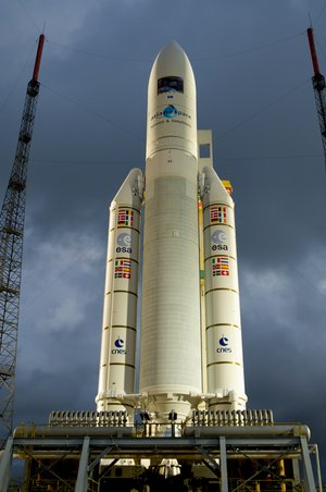 The Ariane 5 ES-ATV launcher, on its mobile launch table