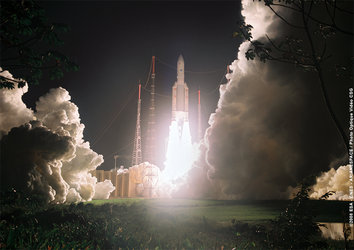 Ariane 5 ECA launcher clears the launch tower at Europe's Spaceport in Kourou, French Guiana