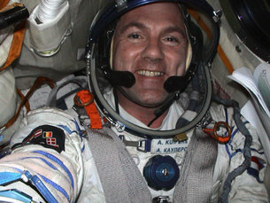 ESA astronaut André Kuipers in the Soyuz capsule