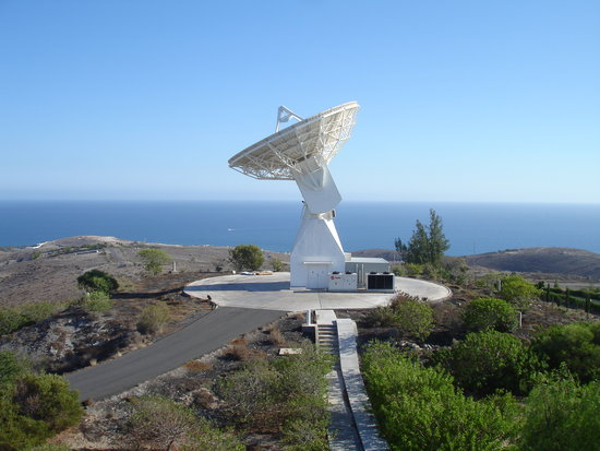 ESA's 15 m-diameter tracking station at Maspalomas, Spain, is part of the worldwide Estrack network