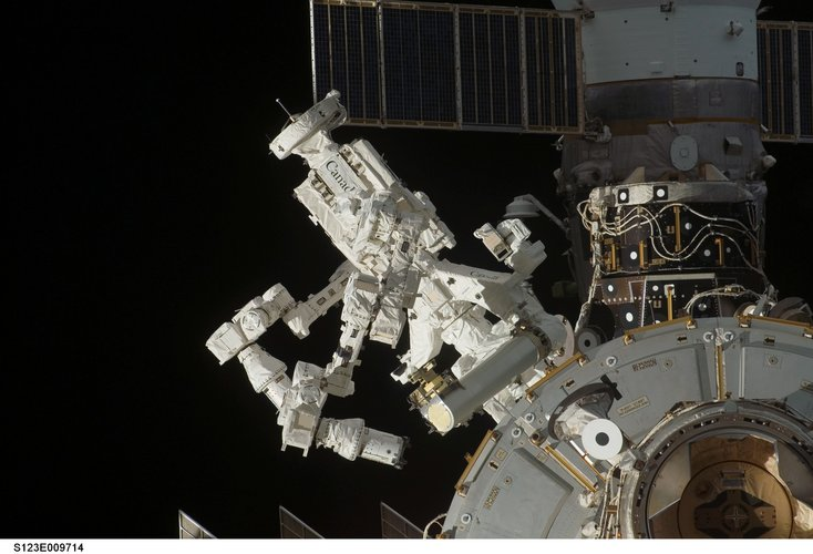 The Canadian Special Purpose Dextrous Manipulator, Dextre, installed on exterior of ISS