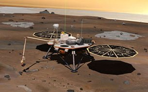 Unfolded lander on Mars