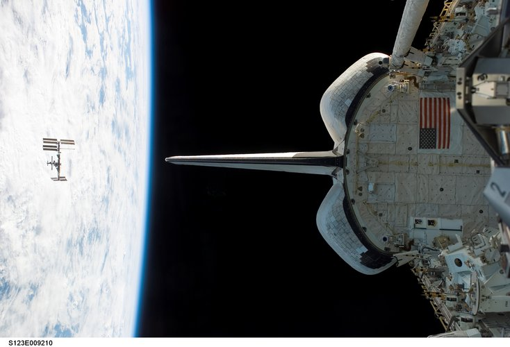 View of the International Space Station following undocking of Space Shuttle Endeavour on the STS-123 mission