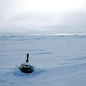 A buoy deployed onto sea ice