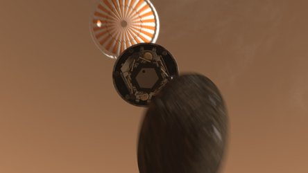 Artist's impression of parachute deployment during Phoenix's descent to Mars