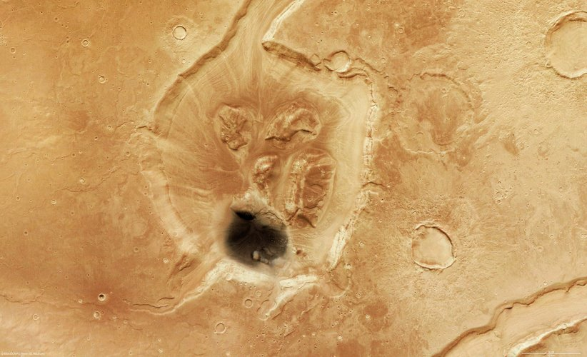 Crater in Mamers Valles