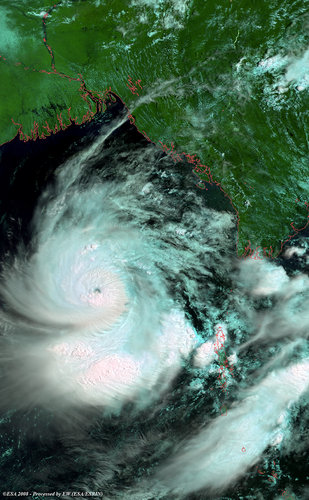 Cyclone Nargis seen by Envisat