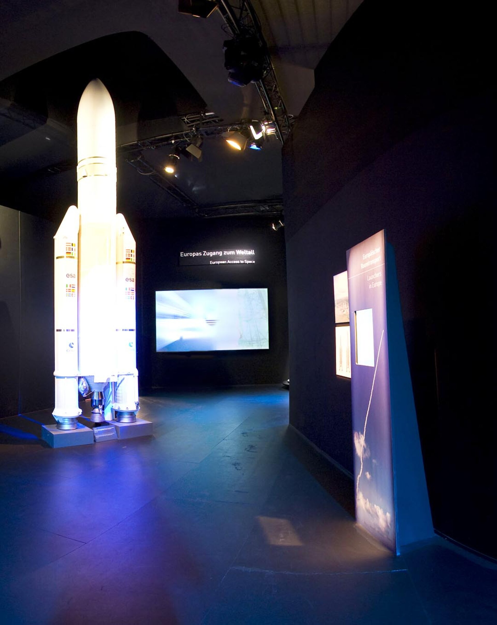 Scale model of Ariane 5 at Space Pavilion entrance