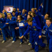 Students gathered at Space Expo for the ARISS contact