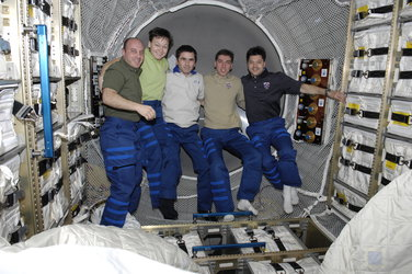 Expedition 16 and 17 crewmembers inside Jules Verne ATV