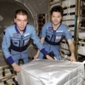 Expedition 17 crewmembers inside ATV