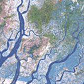 Flooded areas in the Irrawaddy Delta