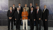 Chancellor Merkel and the Shuttle crew of the STS-122 mission