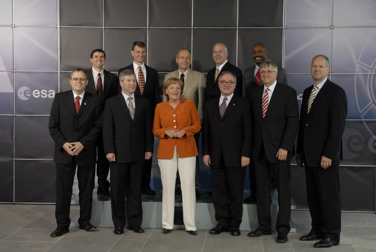 German Chancellor Angela Merkel welcomes the STS-122 Shuttle crew at the Federal Chancellery in Berlin