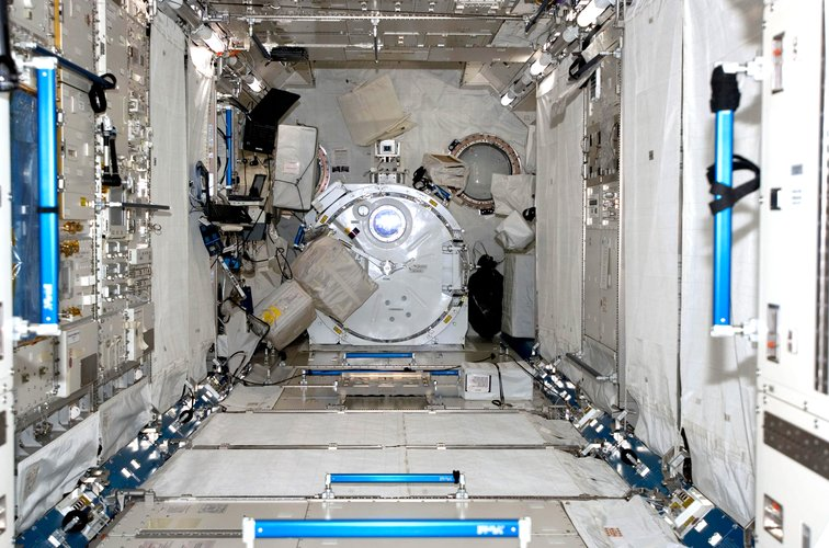 Interior Japanese Experiment Module (Kibo) after installation during STS-124