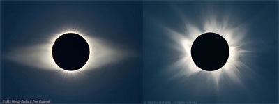 Solar corona seen during terrestrial eclipses