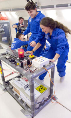 Students performing an experiment in Zero G