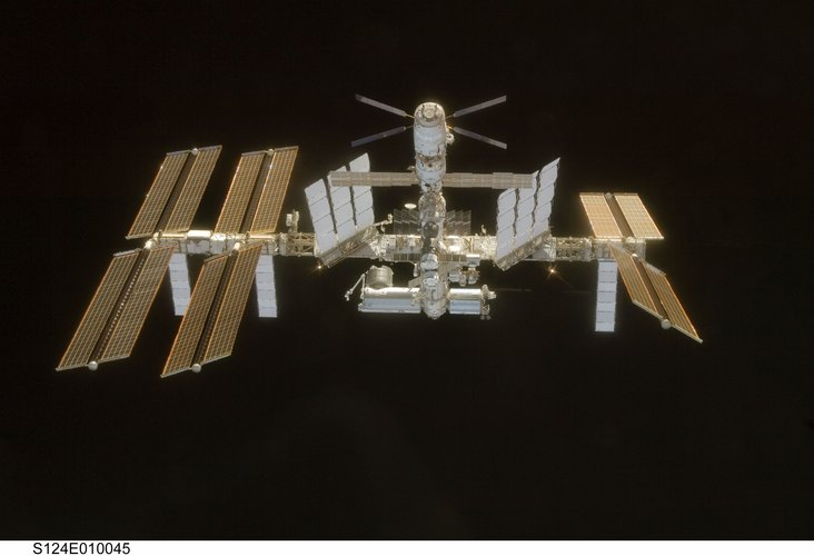 The International Space Station seen from Space Shuttle Discovery after the STS-124 mission