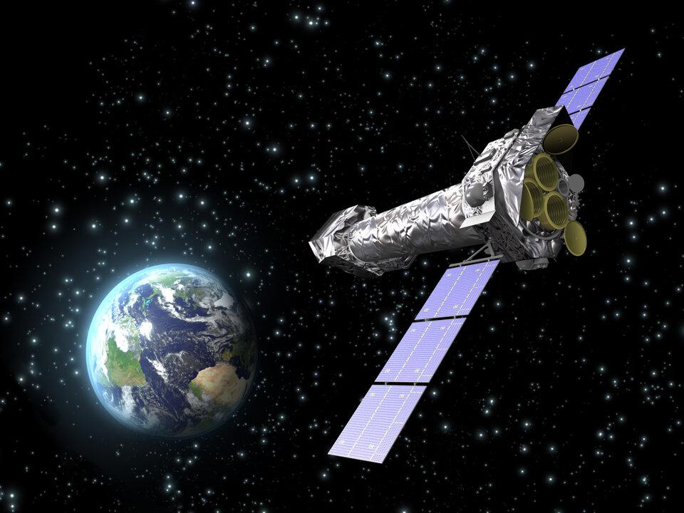 Η εντύπωση του καλλιτέχνη για το διαστημικό παρατηρητήριο XMM-Newton της ESA
