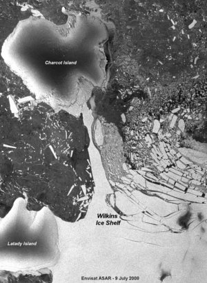 Annotated image of Wilkins Ice Shelf acquired on 9 July 2008