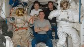 Expedition 17 with spacesuits