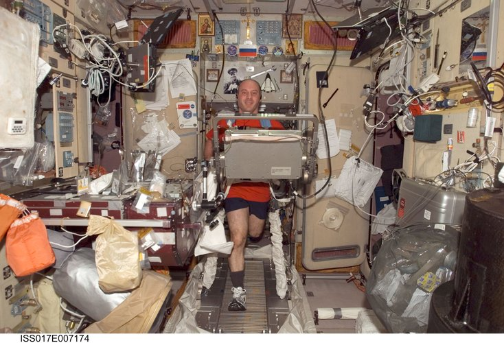 Garrett Reisman exercises on the treadmill in Zvezda module