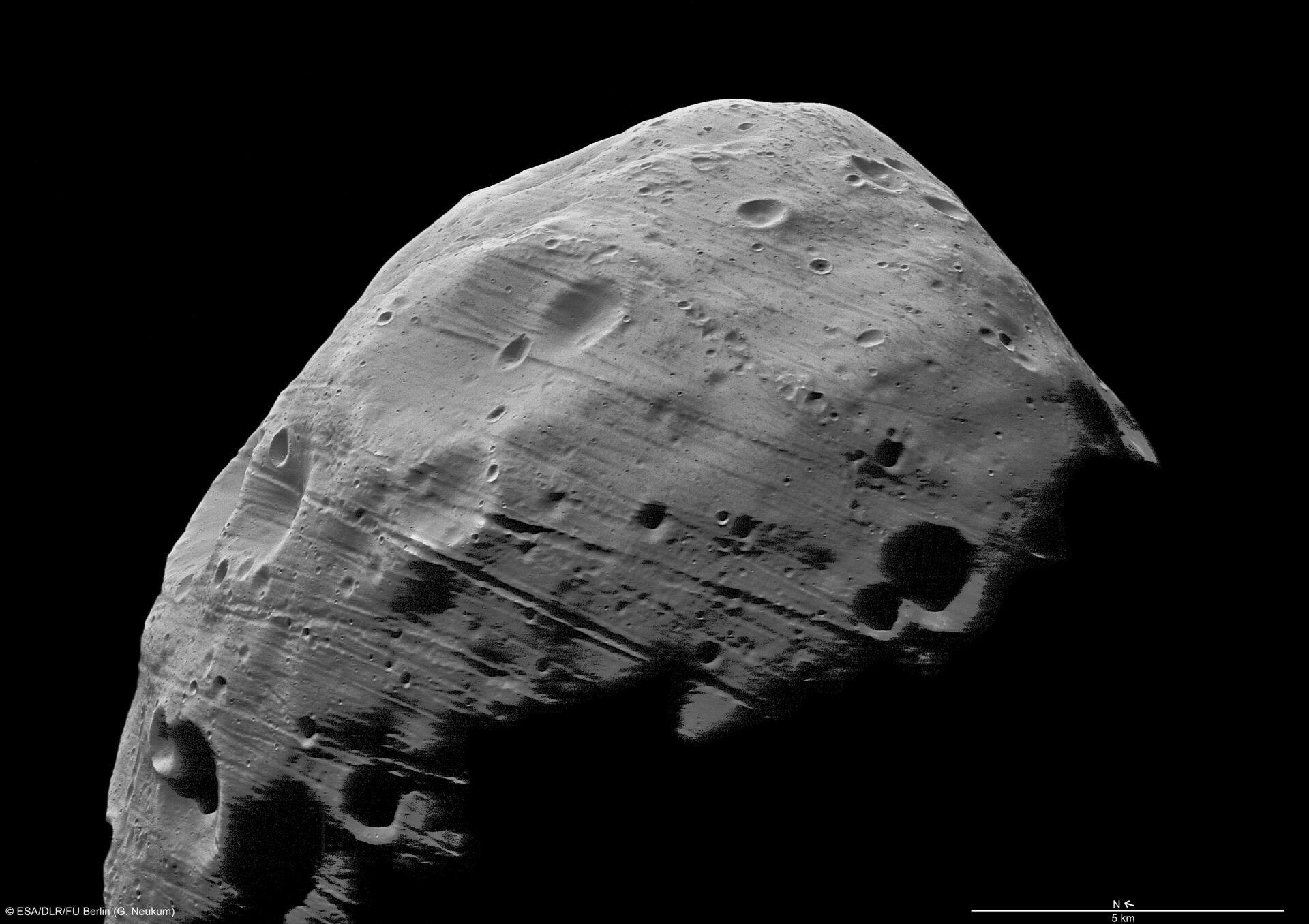 Phobos, imaged by Mars Express.